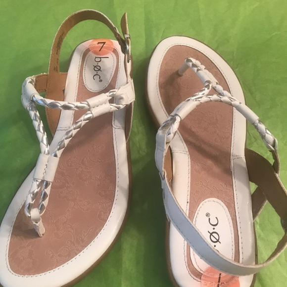 0453b0bd61 Born Shoes | Boc White Sandals With Silver Detail | Poshmark